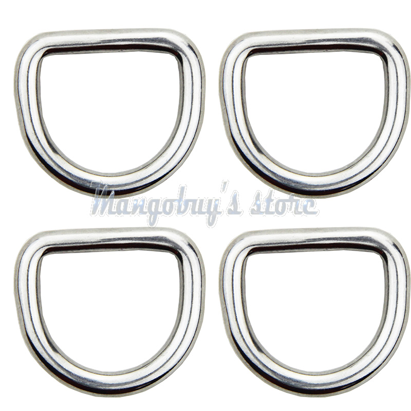 10 PCS 5mm/4mm Diameter Forged AISI 316 Stainless Steel Welded D Ring Boat Hardware Rigging Kayak Boat Accessories Marine Surf