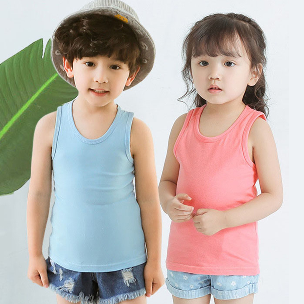 Summer Top Children Sports Vest 95% Cotton Comfortable T-shirt Girls Sleeveless Solid Color Tshirt kids clothes boys tops
