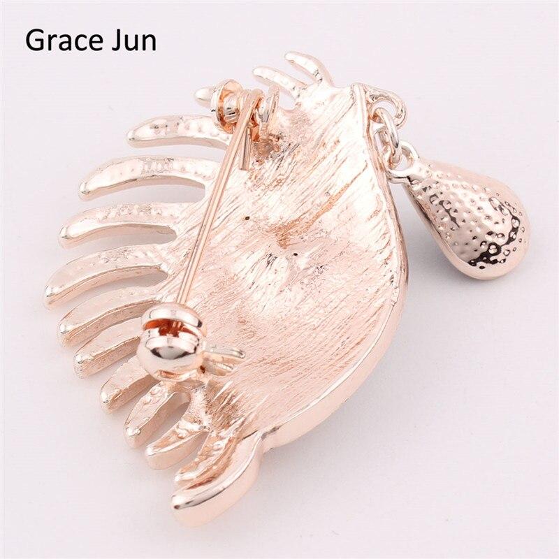 Grace Jun Hot Sale crystal rhinestone eye brooches for women/men dress fashion cute brooches And pins Good gift