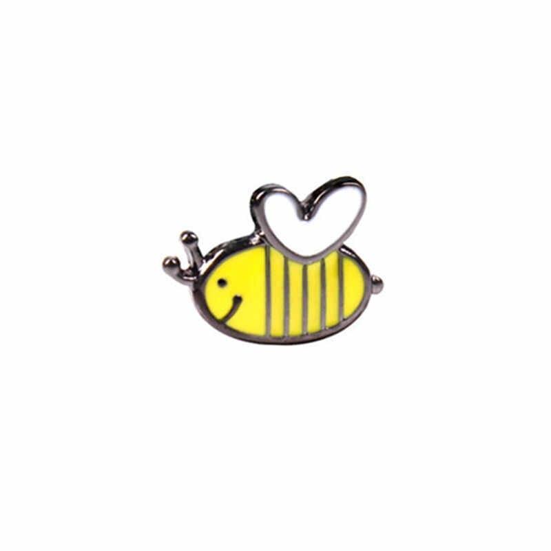 すき蜂蜜蜂家族ピンかわいい漫画ブローチ蜂バッジハードエナメルピン Deniam ジャケットバックパックジュエリーアクセサリーギフト