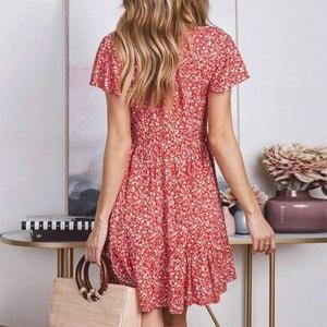 Image 5 - Peachtan Zomer korte strand jurk vrouwen V hals bloemenprint badpak cover up 2019 Feminino Jurk Vestidos Tuniek Rok beachwear