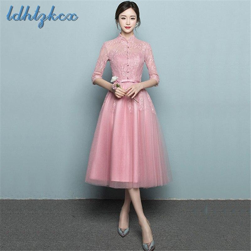 Women Dress Pink Linen Dresses 2018 Autumn Winter Plus Size Party Dress Embroidery A Line Bow Lace Modal Banquet Vestidos CX496