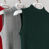 New 2018 High Quality Spring Summer Women Mock Neck Top Turtleneck Sleeveless T-shirt Slim Knitted Vest Female Tee Knitwear 1362