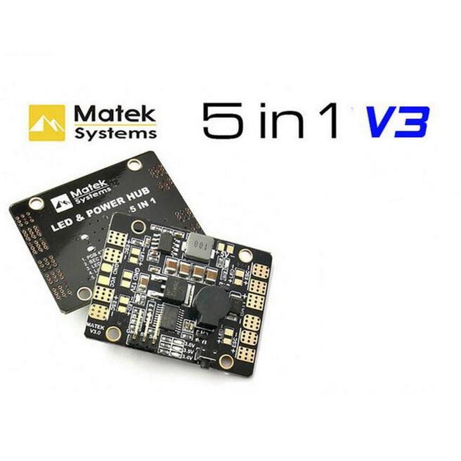 Nuovo Matek 5in1 V3 Scheda di Distribuzione Dell'alimentazione/PDB Hub con Doppia BEC-5V/12 V HA CONDOTTO Il Regolatore Inseguitore Allarme di Bassa Tensione per FPV