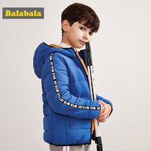Balabala Boy Side-Striped Sleeve Quilted Lightweight Down Jacket with Zip Hooded Puffer Jacket with Slant Pocket Polyester Lined(China)