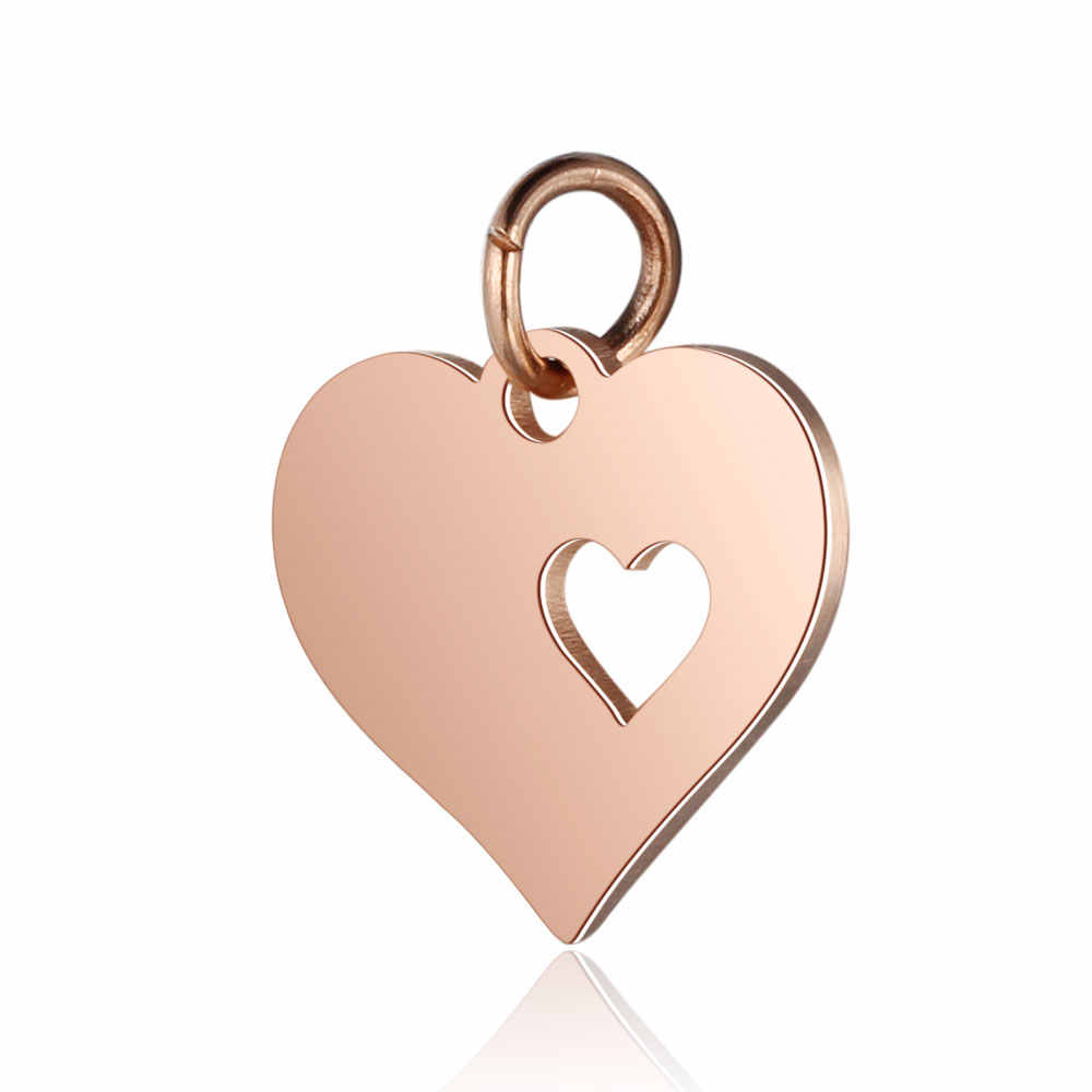 30pcs/Lot 316L Stainless Steel Charms Rose Gold Color Hollow Love Hearts Star Charms Pendants for Jewelry Making DIY Accessory
