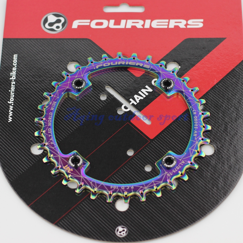 Fouriers MTB Mountain Bike Single Chain Ring Narrow-wide Teeth Chainrings Crank With Bolt BCD 104mm Ti Coating Chainwheel 1pc fouriers cr dx006 130 road bike bicycle cnc single chain ring narrow wide teeth 38t 40t 42t 5mm p c d 130mm compatible