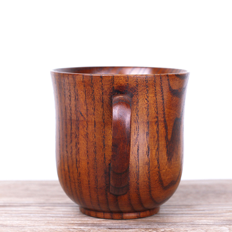 250ml Jujube Wood Mug Japanese Style Wooden Tea Cups with Handgrip Hand-made Wood Cups for Coffee Milk Home Bar Drinking Cups (4)