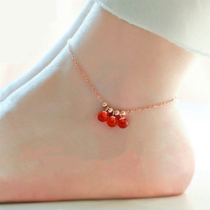 Top Quality 18KGP Rose Gold Plated Titanium Steel lucky tassel bells Anklet Fashion Brand Jewelry for