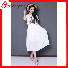 Women summer dress flowers birds print casual dress short sleeve chiffon dress pleated two-piece O-neck white dress