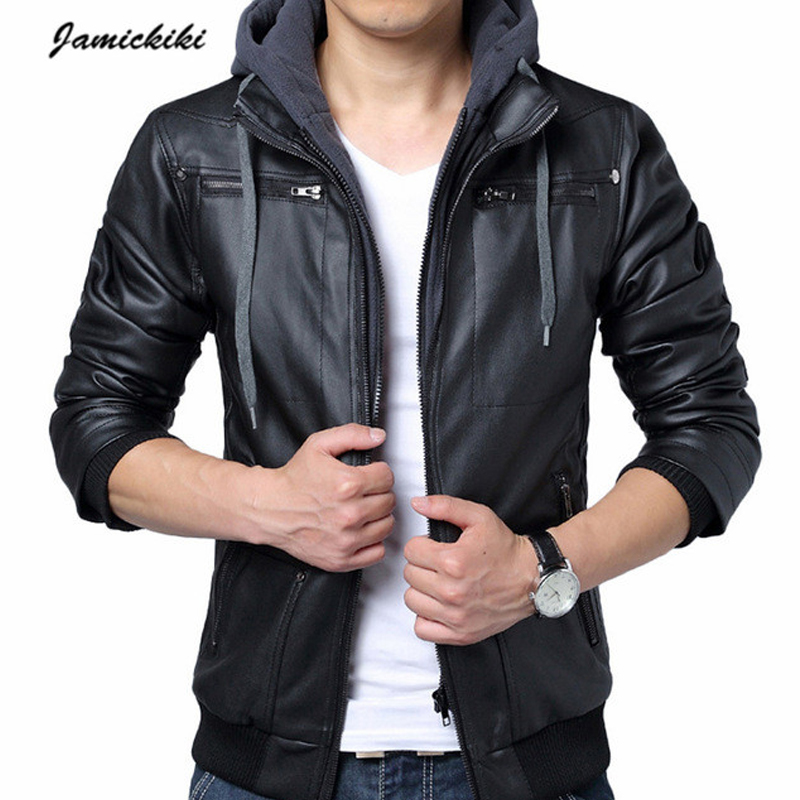 2016 New Arrivel Jamickiki Men's Faux Leather Hooded Jackets ...