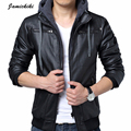 2016 New Arrivel Jamickiki Men's Faux Leather Hooded Jackets Motorcycle Jackets Biker Jackets Men Veste Cuir Homme Jaqueta Couro