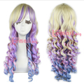 55 см Лолита Лонг Радуга Весенний Букет Косплей Парики Фиолетовый Синий Omber Парик Волос