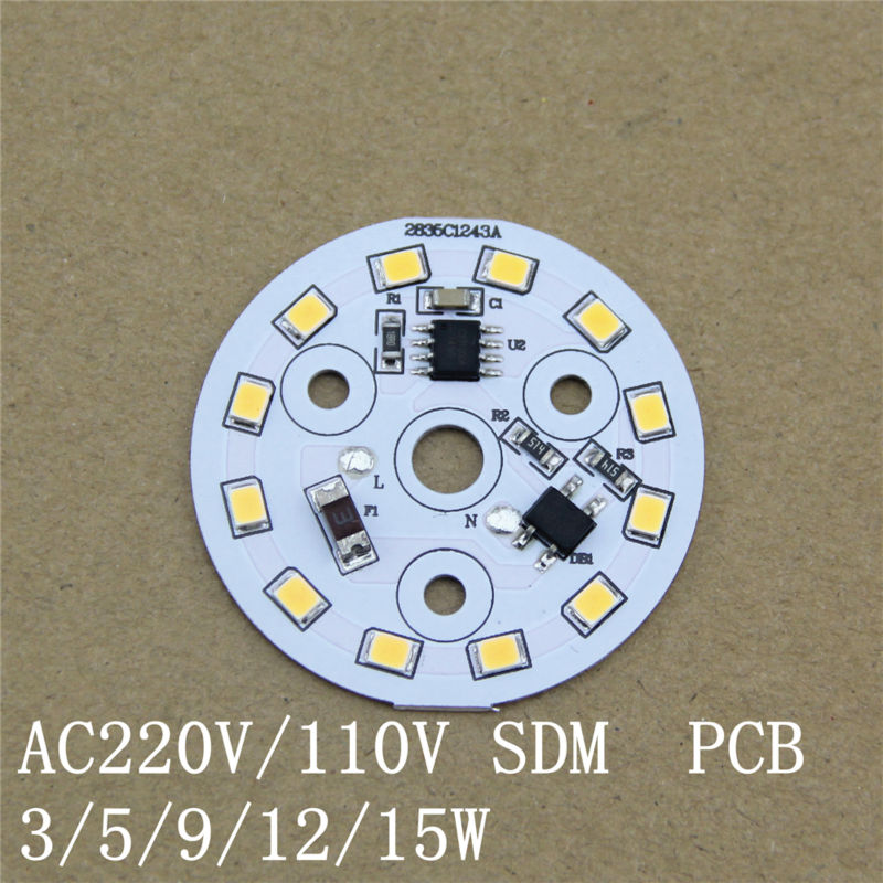 Doprava zdarma 10ks / kus 220Vac 3w 5w 7w 9w Žárovka osazená led Pcb modul 7W AC led modul