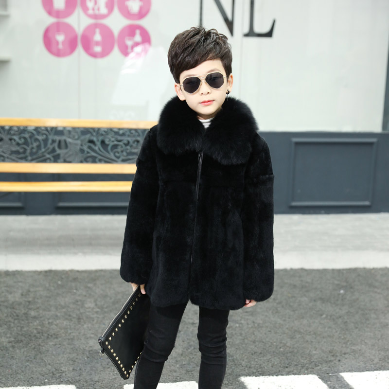 2018 new autumn and winter real rabbit fur children's coat boys natural rabbit fur and fox fur collar jacket leather fur coat boutique winter new women pu leather coat fashion fox fur collar down cotton women leather mid length slim fur jacket odfvebx