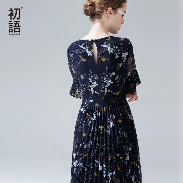 40fcfcf7e25e Toyouth Women Floral Printing Chiffon Pleated Dresses 2019 Summer Half  Sleeve Midi Dress Slim Thin Flowers Party Vestidos Mujer