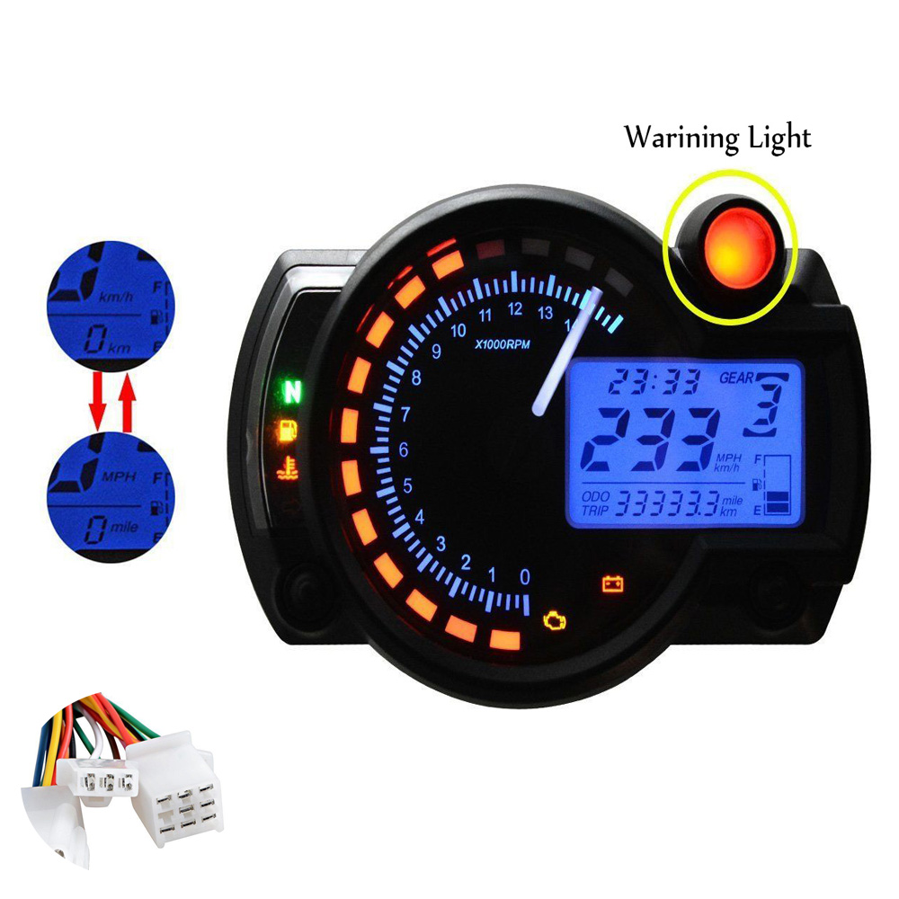 Universal Motorcycle Speedometer 15000rpm Adjustable Lcd