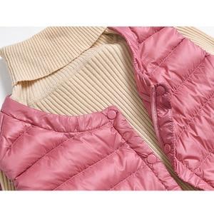 Image 5 - 新 2019 女性超軽量ダウンコートカジュアルスリムロングアヒルダウンベスト高品質の女性の冬ジャケット女性暖かいチョッキ