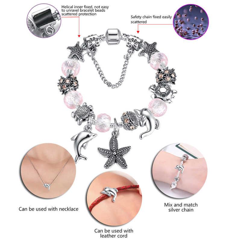 ELESHE Винтажный серебряный браслет с морским дельфином и муранским стеклом, браслет с бусинами из кристаллов для женщин DIY, ювелирные изделия дружбы