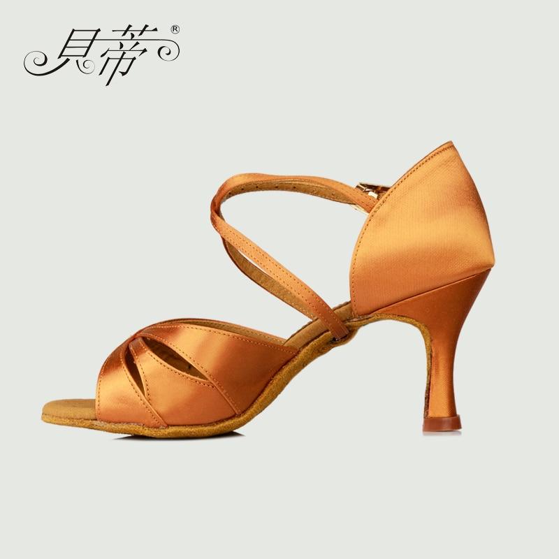 Latin Dance Shoes Woman Salsa BD 2363 Shoes Ballroom Genuine Imported Satin Free Shoes Bag Soft Bottom Wear Anti-skid Latin Hot