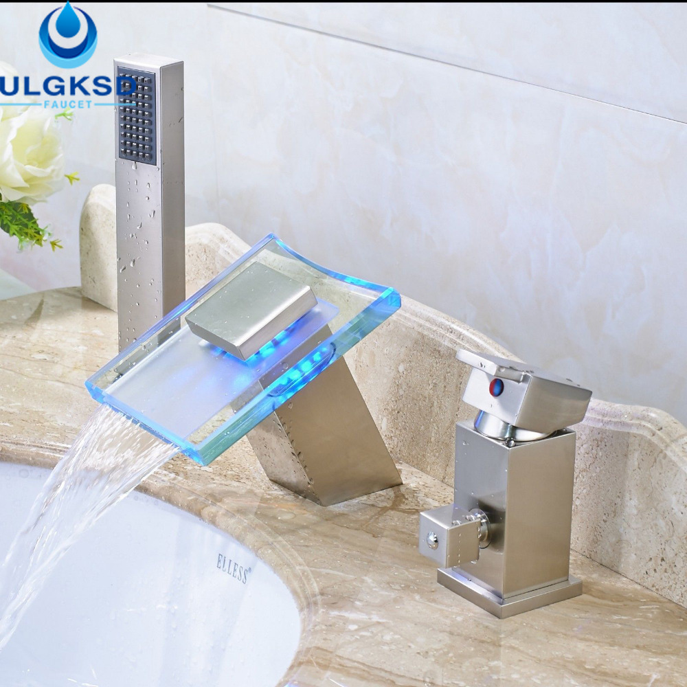 Waterfall bathroom sink - Ulgksd Wholesale And Retail Led Basin Faucet Waterfall Bathroom Sink Faucet With Hand Shower Mixer Taps