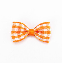 100pcs Free shipping Girl Tartan Ribbon Bow Embellishments Scrapbooking DIY Hair Clip