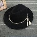 Европейский и Американский Стиль Hat Украшения Мода Весна Лето Большой Широкими Полями Цепи Шерсть Фетровая Шляпа Шляпы Женщины Старинные