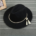 Decoración Sombrero de Moda de Primavera y Verano de Estilo europeo y Americano Grande Cadena de Ala Ancha Sombrero De Fieltro de Lana Sombrero de Ala de Las Mujeres de La Vendimia