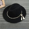 European and American Style Hat Decoration Fashion Spring Summer Large Wide Brim Chain Wool Felt Hat Brim Hat Women Vintage