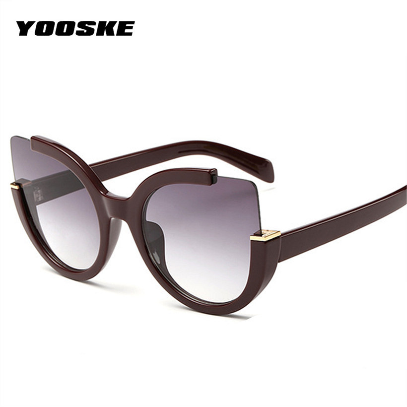 bfce9cccc6ca0 YOOSKE Sexy Cat Eye Sunglasses Women Brand Designer Mirror Sun Glasses  Ladies Round Lens Shades for ...