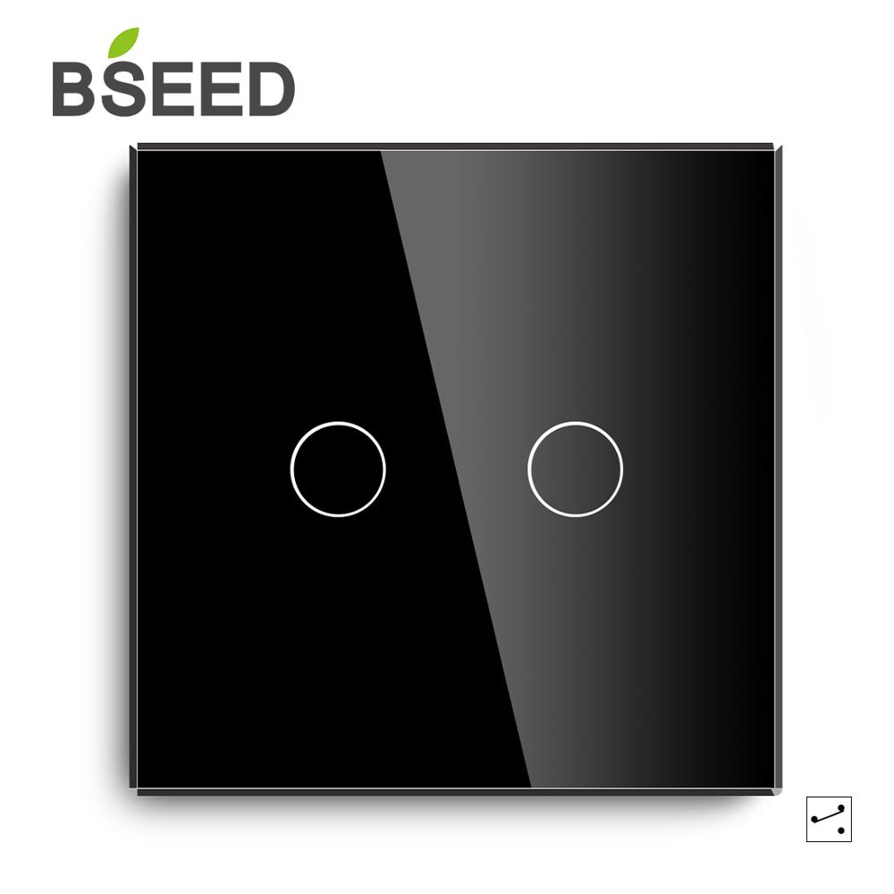 Bseed Capacitive Touch Switch Luxury 2Gang 1Way 2Way Wall EU UK Standard Glass Panel Light Black White Gold