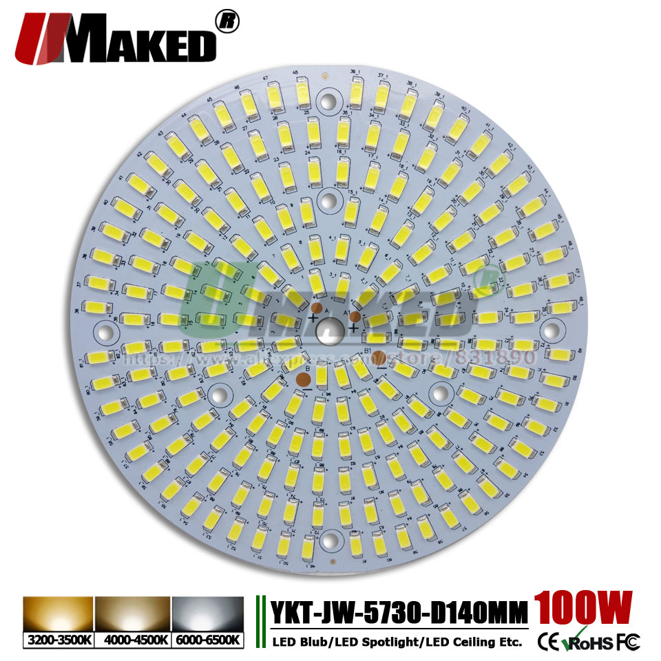 UMAKED 100W 140mm LED PCB SMD5730 Chip Light Source Aluminum Lamp plate Warm/Natural/White DIY Ceiling Bulb Bay lights Spotlight dc 12v 45w 155mm led pcb white red color input dc12v needn t driver smd5730 high lumen aluminum lamp plate