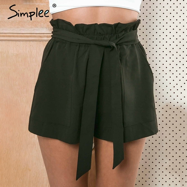 Casual plus size shorts women Elastic high waist