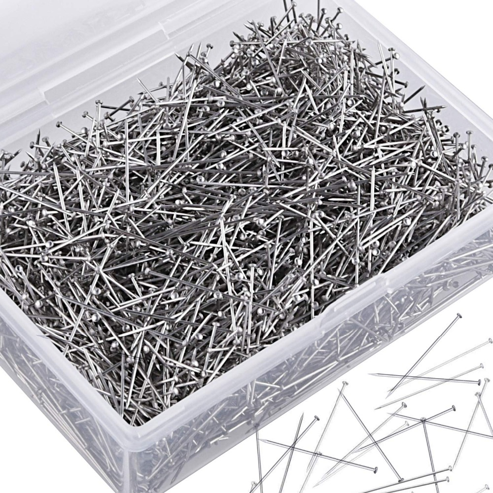 AIEX 1000 Pieces 1 Inch Sewing Pins Head Pins Fine Satin Pin Straight for Dressmaker Jewelry Craft Sewing Projects
