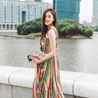 UNIQUEWHO Rainbow Striped Silk Dress Sleeveless V neck Multilayer Asymmetric Midi Dress Summer Beach Dress for Women Girls M / L