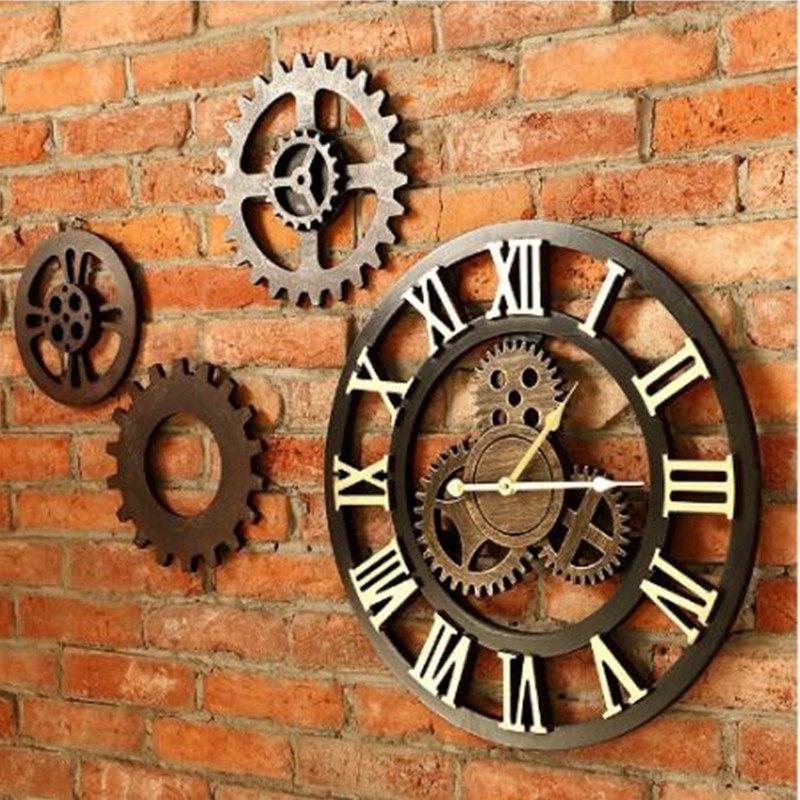 066ba46fe14 ... decorativo arte luxo grande engrenagem grande relógio de parede na  parede de madeira do vintage para o presente 20 inche. US  18.32. 45 cm  Europeu Retro ...