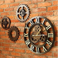 45cm European Retro Vintage Handmade 3D Decorative Gear Wooden Roman Numeral Noiseless Gear Wall Clock Living Room Hotel Deco