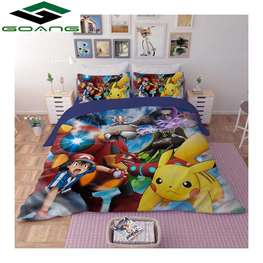 GOANG Bedding Set Duvet Cover Bed Sheet Pillow Case 3d Digital Printing Cartoon Pikachu 100% Microfiber Luxury Bedding