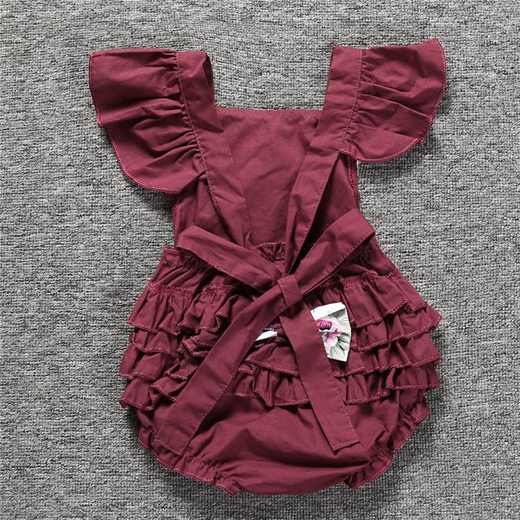 97ae2d590ef8 Summer Toddler Baby Girl Bodysuits Lace Floral Collar Tiered Back ...