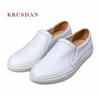 KRUSDAN White Brand Casual Men Shoes Handmade Genuine Leather Sport Sneakers Slip On Vulcanized Shoes Men Breathable Male Flats