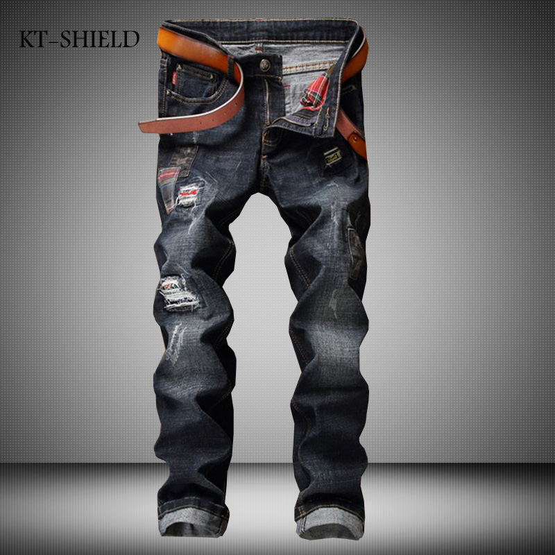 New Brand Designer Mens Ripped Jeans Pants Slim Fit Distressed Hip Hop Denim Joggers Male Novelty Streetwear Jean Trousers streetwear mens patch jeans slim fit denim jeans ripped pants high quality recommend new famous brand jeans men trousers 7044