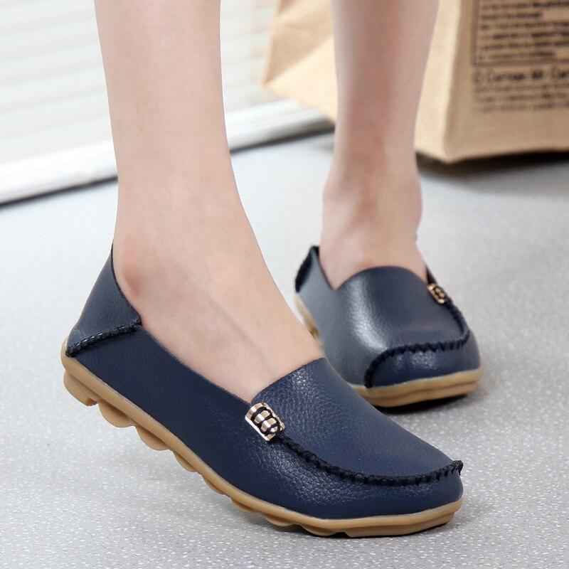 Moda mujeres zapatos casual primavera mujeres Pisos mocasines zapatos de cuero d