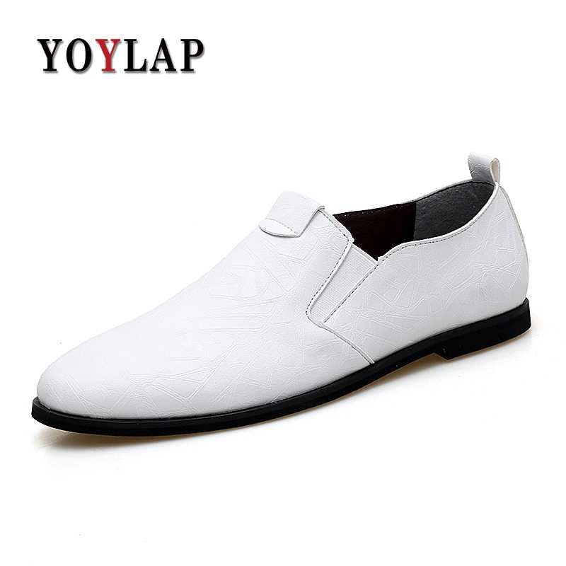 364e01c95 Yoylap Fashion Formal Mens Dress Shoes Black White Slip-on Flats Men  Business Dress Shoes