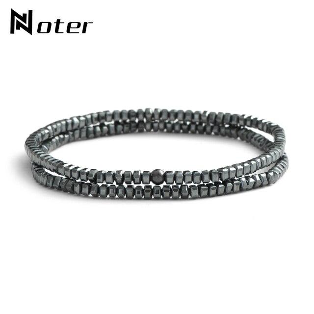 Noter 2 Pcs/Set Gun Black Hematite Bracelets Sets Minimalist Small Beads Couple