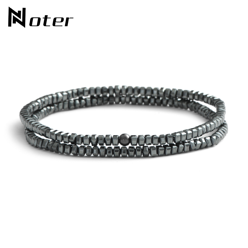 Noter 2 Pcs/Set Gun Black Hematite Bracelets Sets Minimalist Small Beads Couple Braclet For Mens Yogo Biker Hand Jewelry