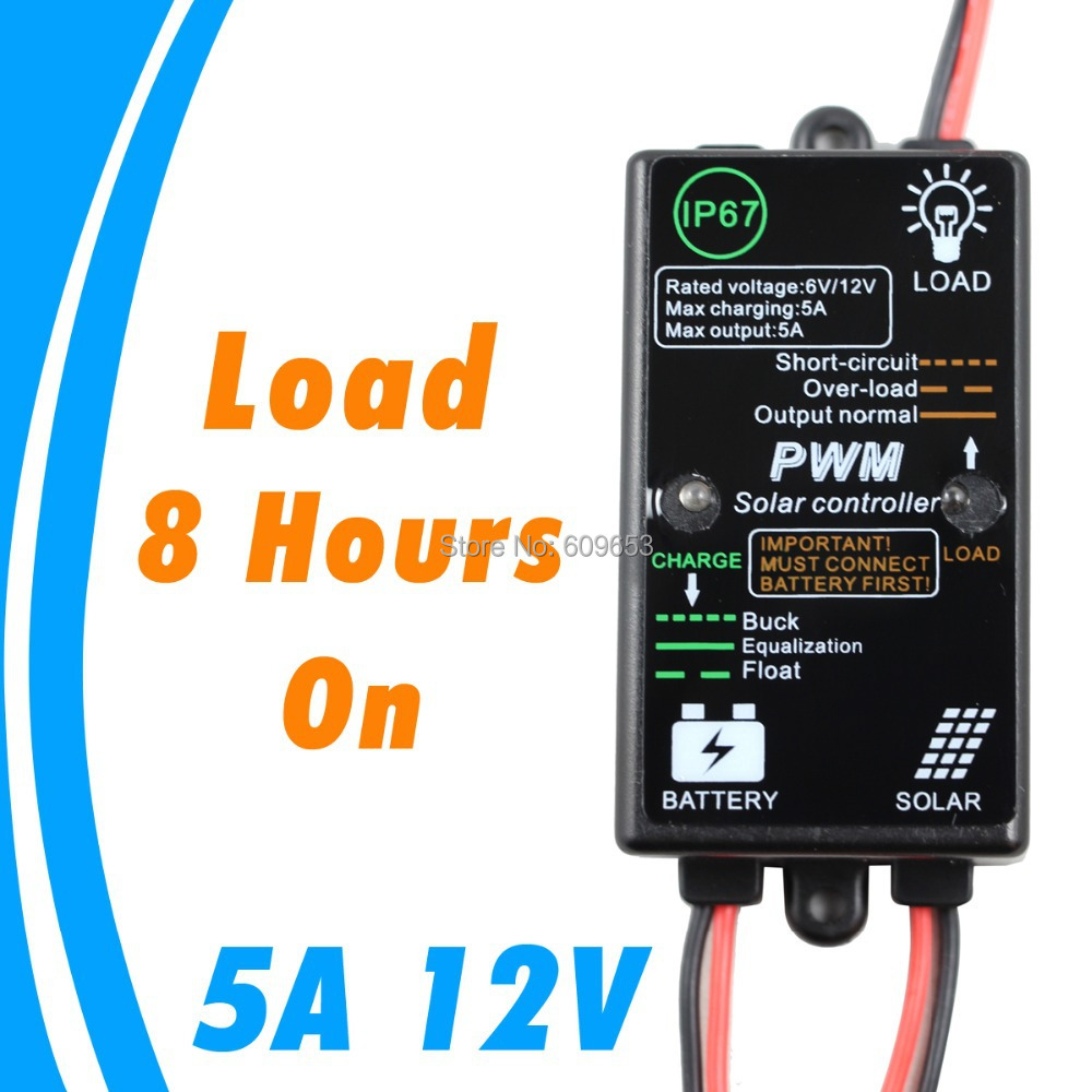 3a 6v Solar Charge Controller With Light Control Load On In The Led Pwm View 5a 8hours From Dark Ip68 Waterproof Panel Battery 12v Cmp
