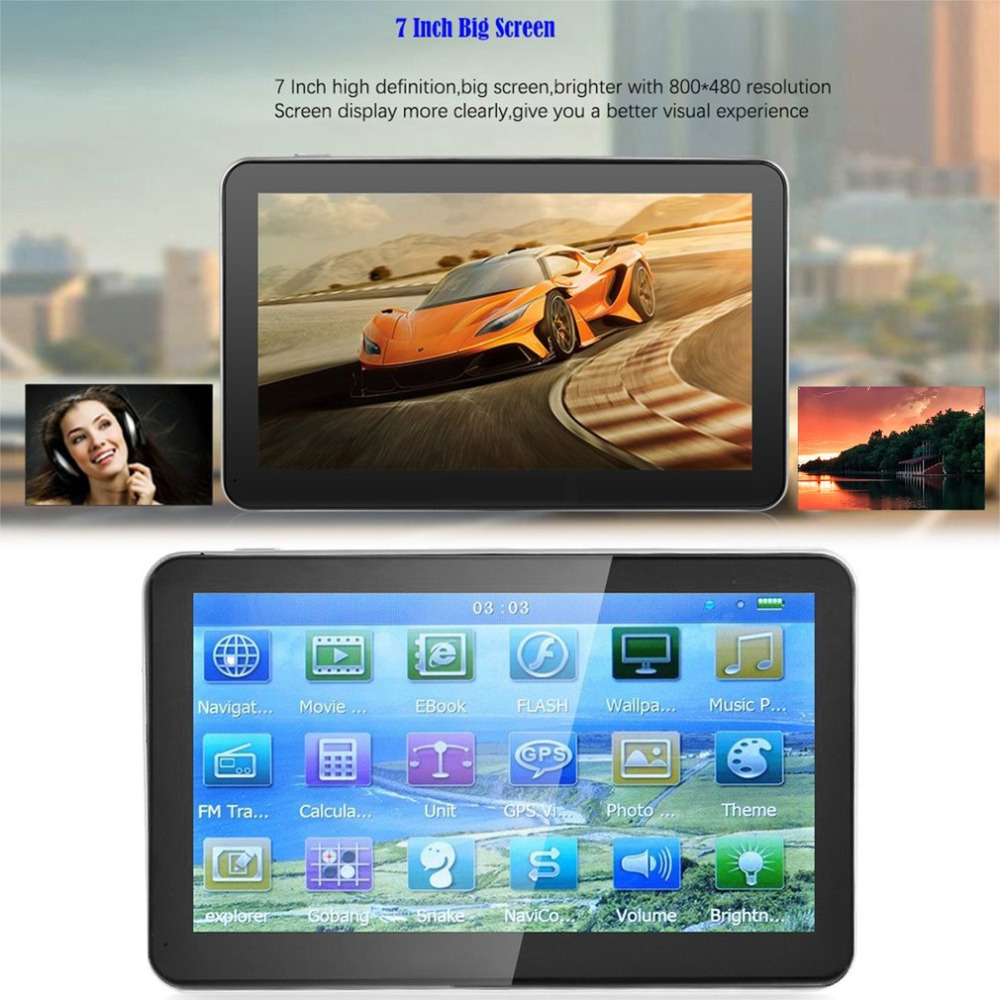 7Inch Car New 8GB ROM+128M RAM Capacitive Touch Screen GPS Navigator 800*480 HD Portable GPS Navigation FM Audio/Video Player hot sale 7inch hd car gps navigation sunshade new map 800m fm portable satnav camera tracker vehicle gps navigator with visor