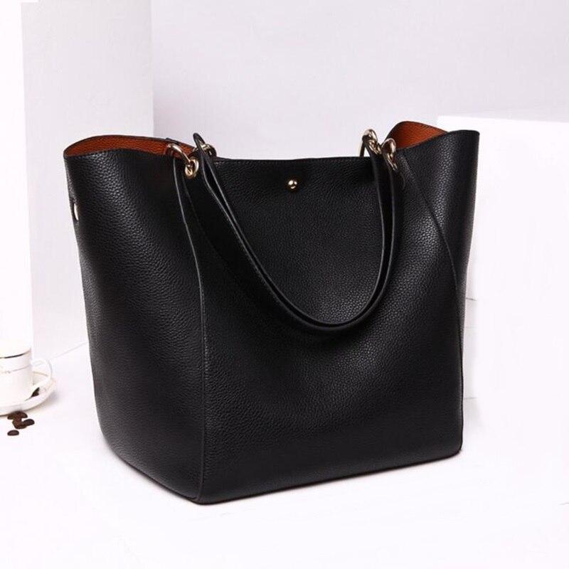Women Genuine Leather Handbags Big Tote Bag Famous Brand Design Ladies Shopping