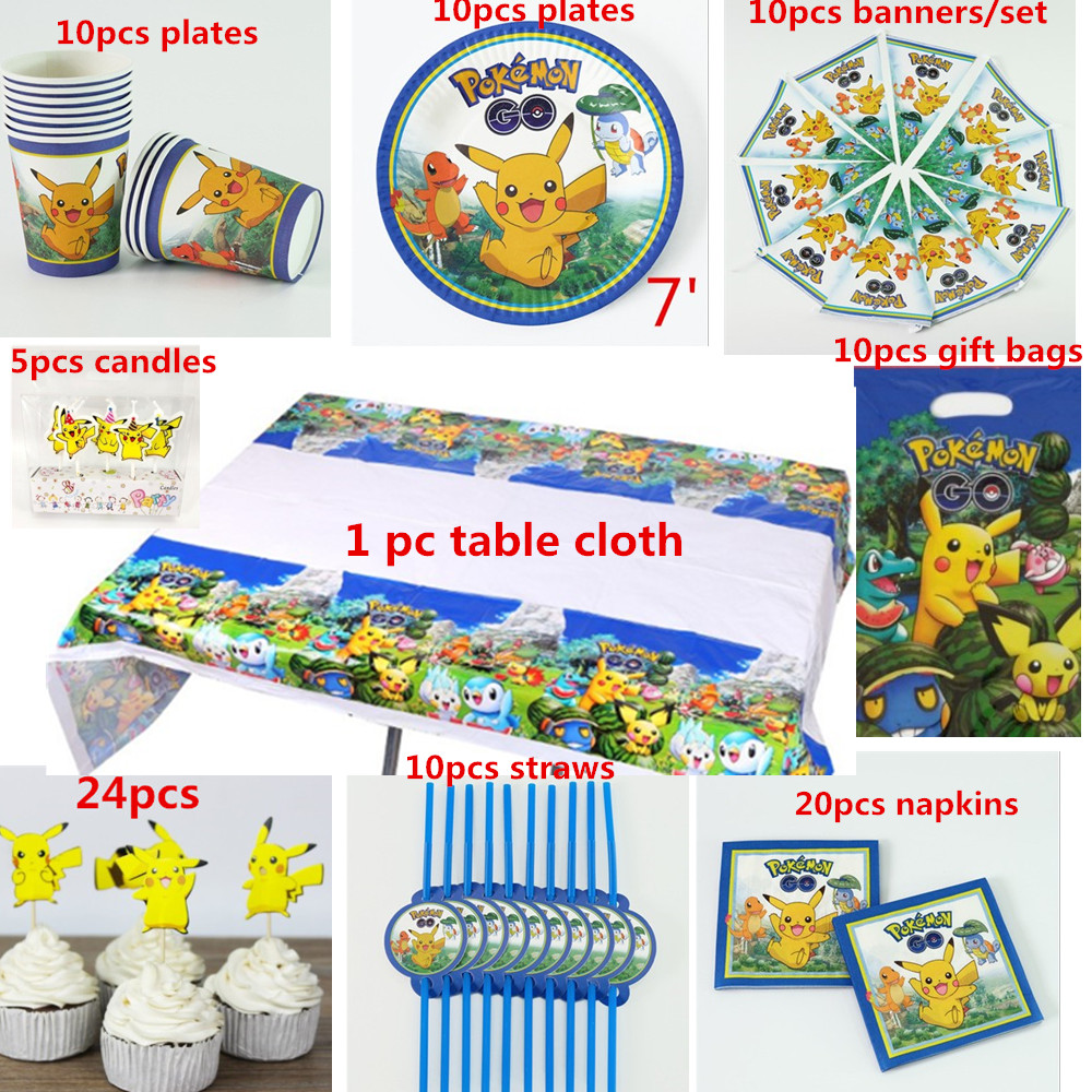 10 People 100pcs Happy Birthday Kids Pikachu  Disposable Party Decoration Sets Paper Garland Baby Boy Shower Supplies