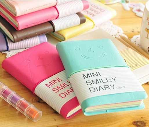 Hot sale cute Mini Smiley Diary Notebook kawaii Memo Book leather Note Pads Stationery Pocket book pocket diary